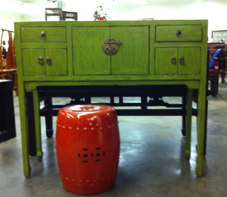This lime green Art Deco Desk at Antiques by Zaar will fit into any spot!  The color is fantastic - and it's also available in apple green, dark blue, light blue, red, yellow and more!  You can also layer a garden stool underneath.    Antiques by Zaar (1500 W. Green Drive) #hpmkt