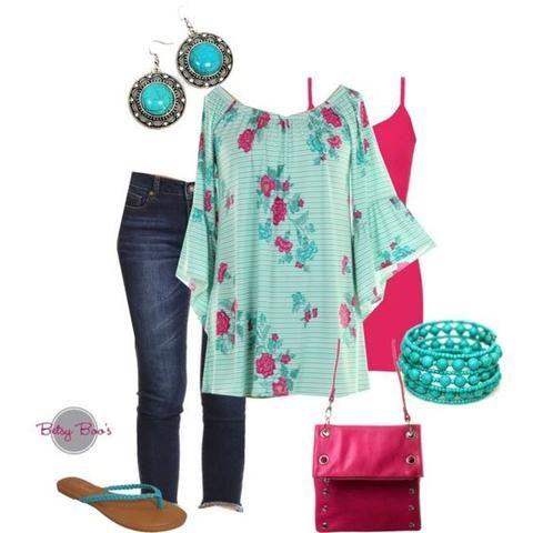 Set 568: Aqua Floral Tunic (includes tunic, tank, bracelet & earrings)