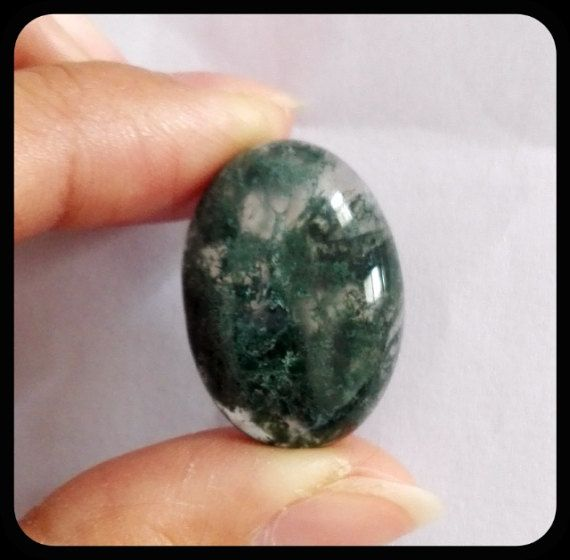 Moss Agate Cabochon OV/CAB Ring Cab Natural by Jewelrycraftbox