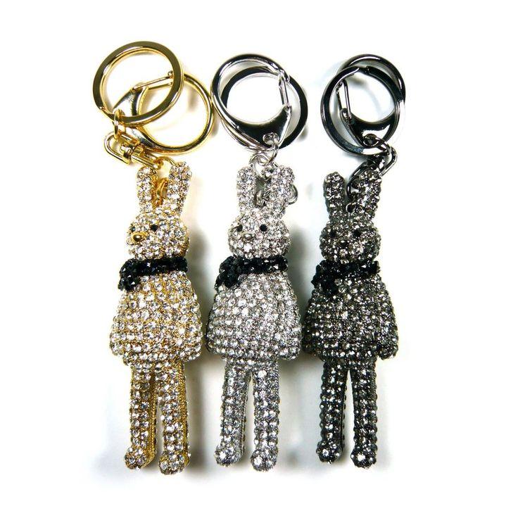 Crystal Rhinestone Rabbit Bunny Car Key Chain Holder Ring Bag Charm Accessory #Jacc