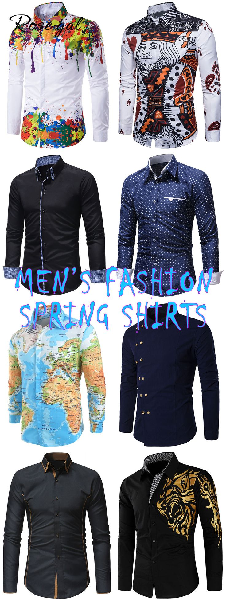 Rosegal mens spring outfits long sleeves shirts ideas