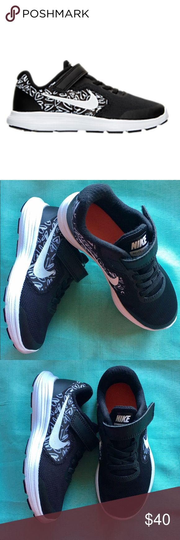 """Nike Revolution 3 girls running shoes Nike Revolution 3 girls running shoes, sizes toddler 11 and 13, color black with white hearts, Velcro look, """"brand new"""" Nike Shoes Sneakers"""