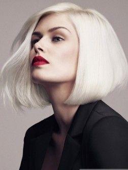 Medium Platinum Bob Hair Style