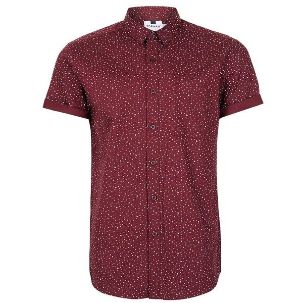 Men's Topman Splotch Print Shirt (£21) ❤ liked on Polyvore featuring men's fashion, men's clothing, men's shirts, men's casual shirts, men, shirts, menswear, burgundy multi, mens short sleeve cotton shirts and mens casual short-sleeve button-down shirts