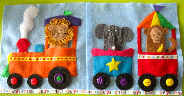 Circus Train Quiet Book Pattern - could be made with zoo cages, too