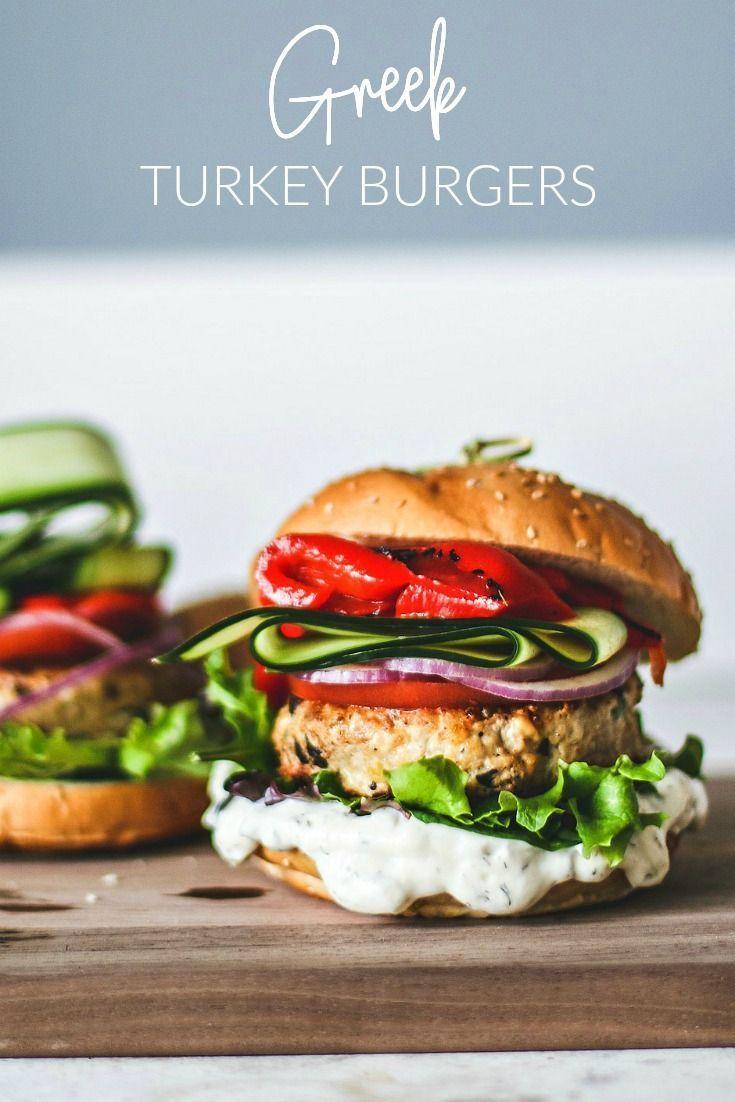 These Tender Greek Turkey Burgers Are Made Up Of Lean Ground Turkey Garlic Kalamata Olives Feta A Greek Turkey Burgers Turkey Burgers Turkey Burger Recipes