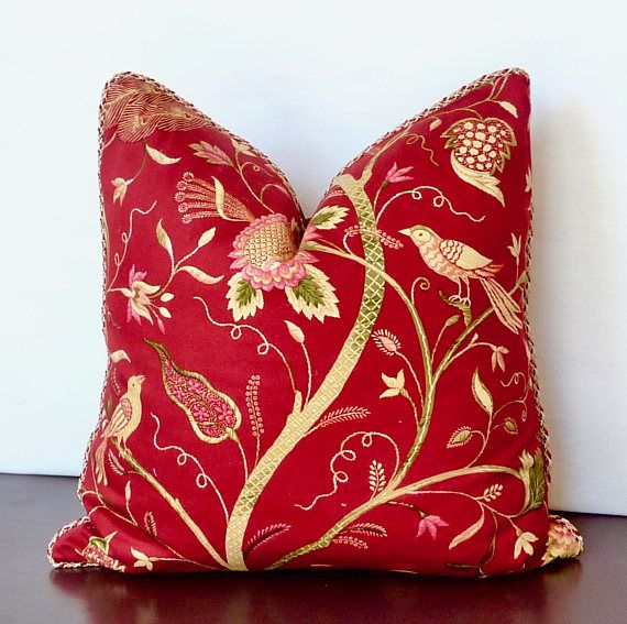 Exceptional High End Designer Throw Pillows Part - 9: Red Gold Pink Green Bold Jacobean Floral An Bird Decorative Designer Pillow,  High End Pillow