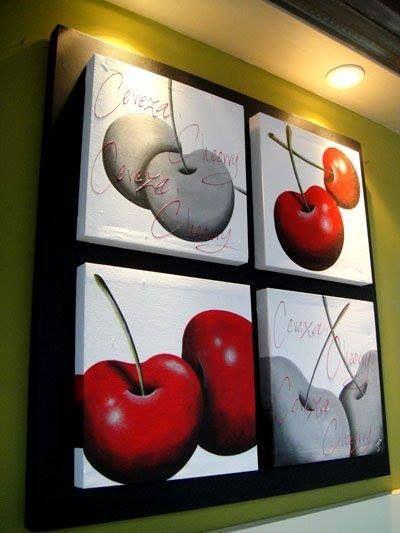 Cerezas pop art 90x90cms