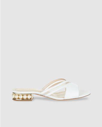 Sandalias planas de mujer Nicholas Kirkwood de piel blanca