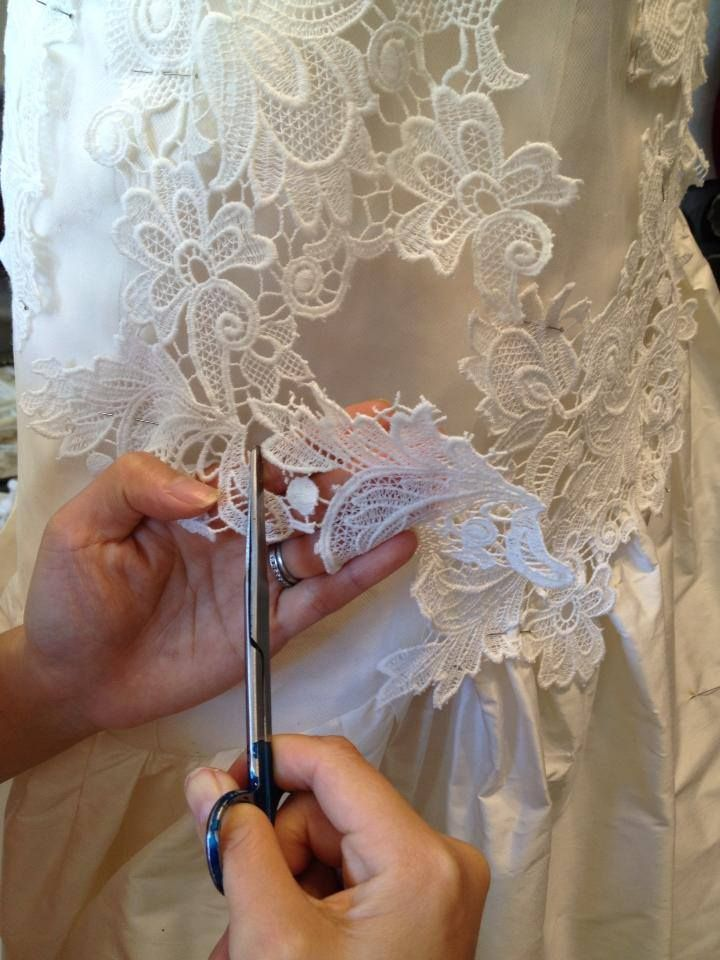 Working on a bespoke bridal gown for a client x
