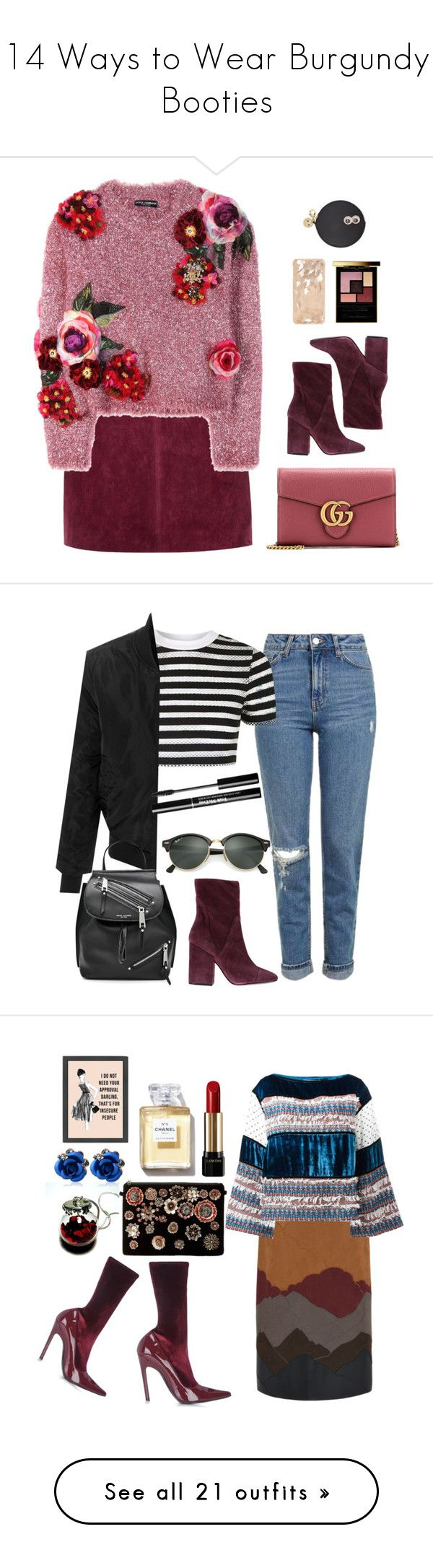 """""""14 Ways to Wear Burgundy Booties"""" by polyvore-editorial ❤ liked on Polyvore featuring waystowear, Burgundybooties, Sophie Hulme, Yves Saint Laurent, River Island, Dolce&Gabbana, Gucci, Kendall + Kylie, Topshop and LE3NO"""