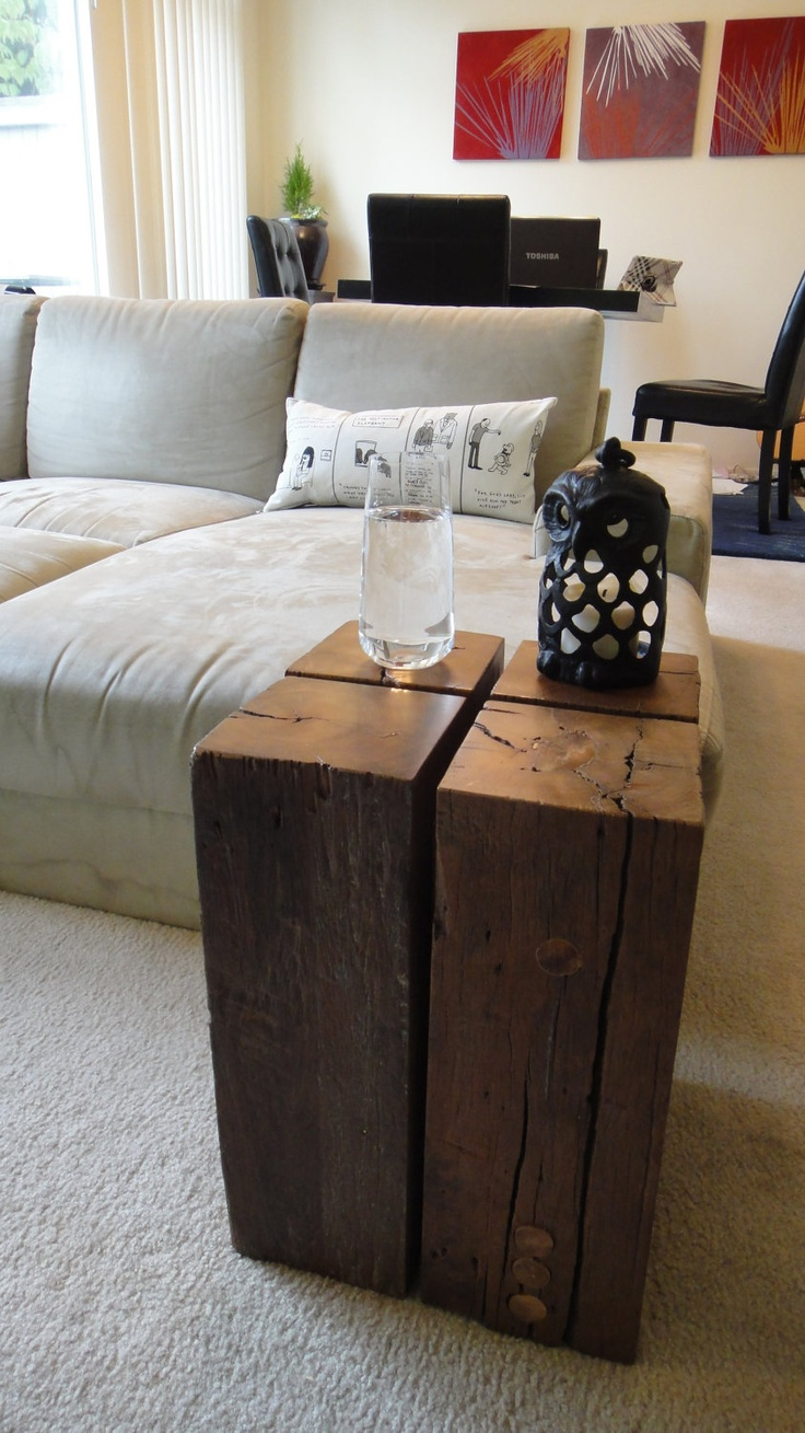 14 best wooden images on pinterest coffee tables furniture reclaimed wood block side table 23000 via etsy geotapseo Image collections