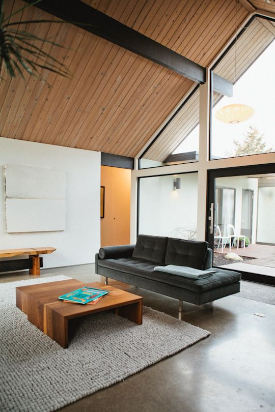 Jonya & Brad's Modern A–Frame: Interior, Coffee Table, Apartment Therapy, Living Room, A Frame, Wood Ceilings, Modern House