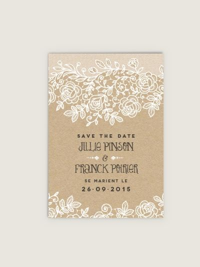 save the date mariage dentelle faire. Black Bedroom Furniture Sets. Home Design Ideas