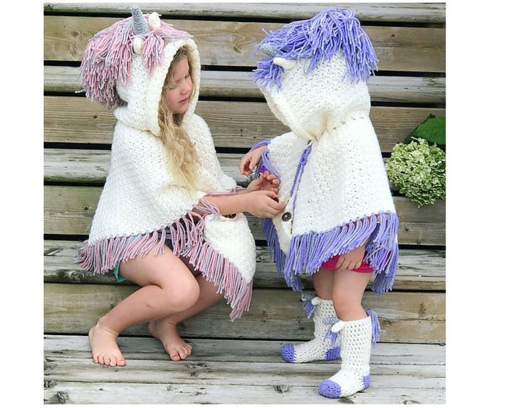 Crochet Pattern for Unicorn Poncho and Crochet Socks – Unicorn Crochet Pattern – Hooded Unicorn Poncho and Socks PATTERN by MJs Off The Hook