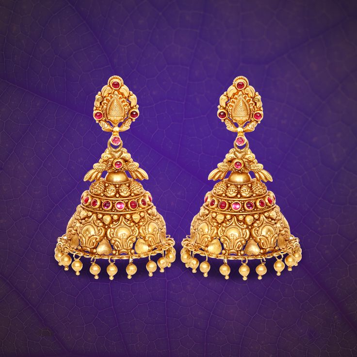 22K Gold Antique Jhumka Designs from GRT Jewellers, Gold Antique Jhumkas from…