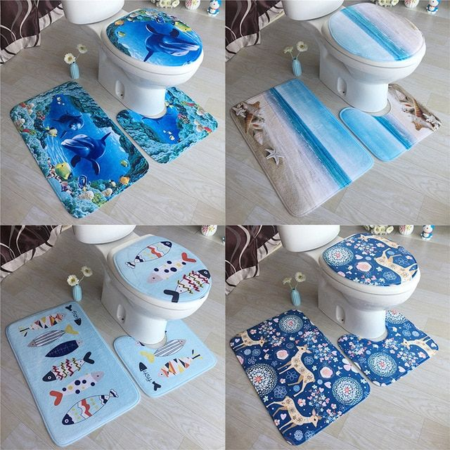 3 Pcs Bath Mats Ocean Underwater World Anti Slip Bathroom Mat Set