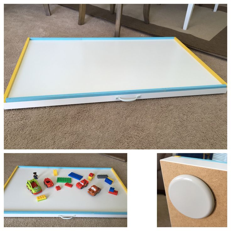 """DIY sliding Lego (or train, etc) table! Easy to store under the bed and pull out to play! Supplies: """"linnmon"""" ikea table top (or a piece of wood but the ikea table top was cheap and light) handle (with external screw holes) 1/2"""" square dowel rods for trim (painted if desired) glued and/or nailed in place Round furniture sliders (approx 3"""" size) glued to the bottom at each corner to help with easy sliding *we used liquid nails for all the glueing"""