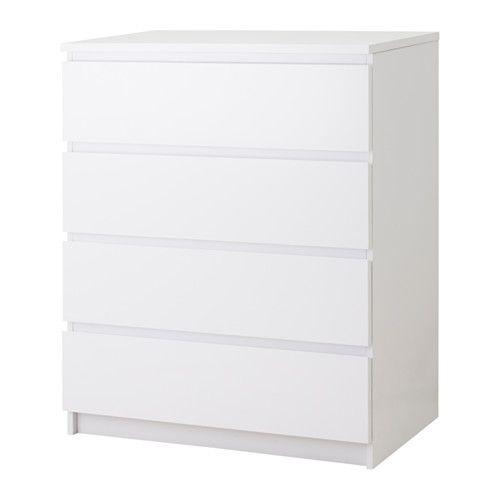 MALM Kommode mit 4 Schubladen, weiß, Hochglanz weiß/Hochglanz 80x100 cm