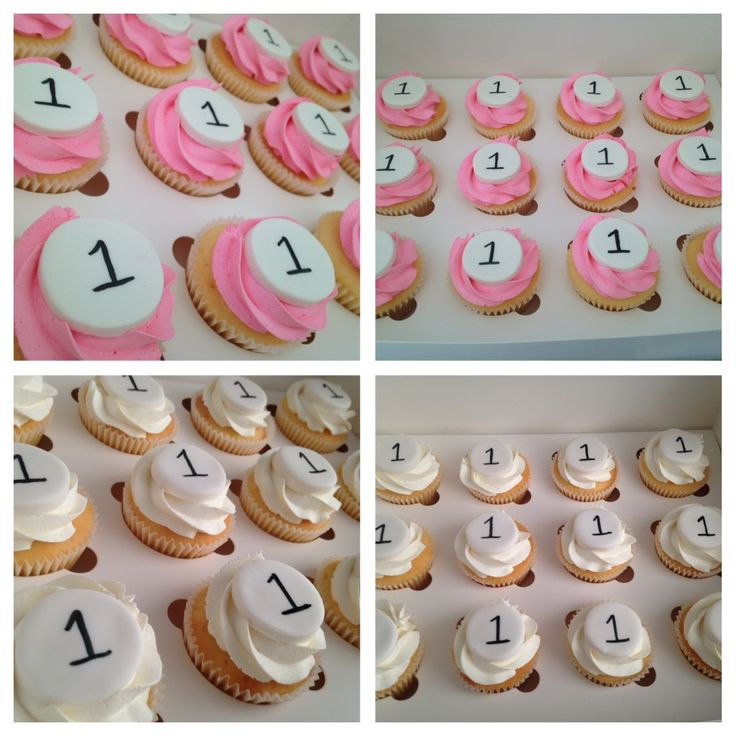 Buttercream vanilla first birthday cupcakes