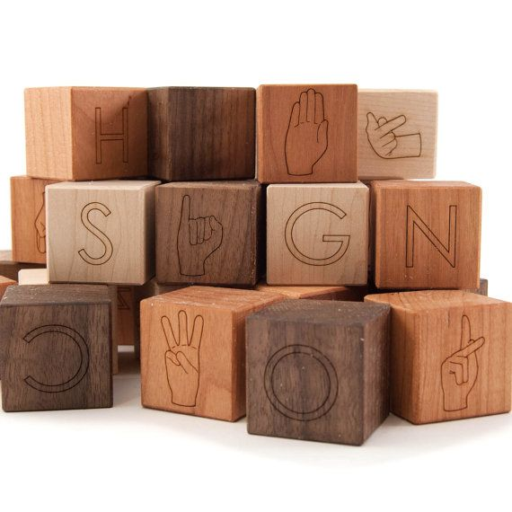 asl alphabet block set, sign language wooden block toy