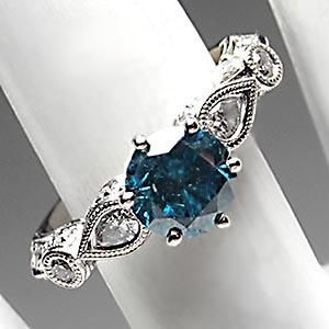 Blue Diamond Solitaire w/Accents Engagement Ring Solid 18K White Gold - EraGem