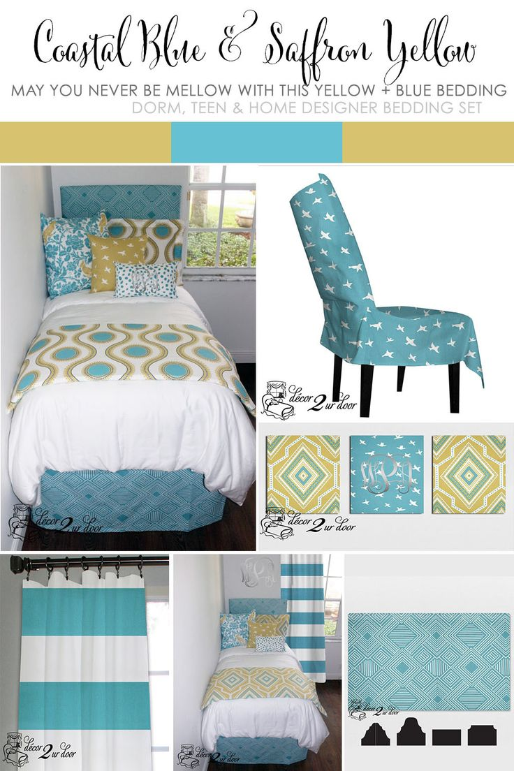 Blue And Yellow Dorm Room Bedding. Inspired By Anthropologie Dorm Room  Bedding. Decorate A Part 86