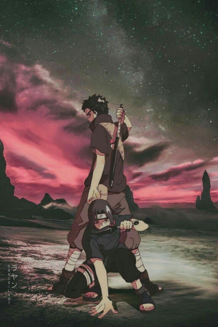 Itachi und Shisui kämpfen Rücken an Rücken  Hinten der