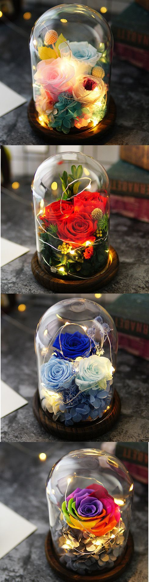 A classy, very sophisticated roses decoration. Perfect for a sophisticated, elegant decor, make the room look very modern and shabby chic. Excellent wedding centerpiece or ring box. Beauty and the Beast theme Perfect Birthday, Valentine, anniversary, Christmas gift