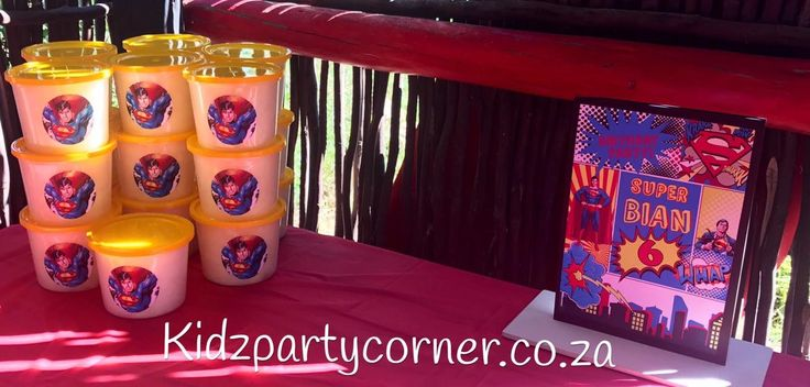 Superman party theme supplies, favours and decor. We design and create any theme for any occasion and age customised according to your specifications. Door to door courier country wide at affordable prices - unique and convenient. Styling and set-up packages available in PTA and JHB at you own venue or at one of our Alberton venues. Visit our website www.kidzpartycorner.co.za or email Info@kidzpartycorner.co.za for more details