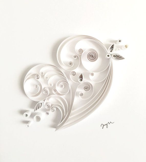 Quilled White Paper Heart - beautiful, but at $100, I think I'll just learn how to do it myself...