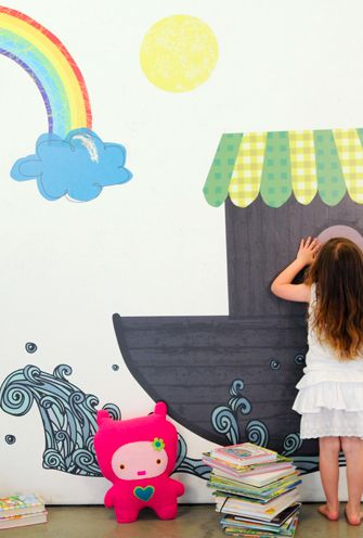 Noah's Ark Wall Decal. Removable and Reusable. By Pop & Lolli.: Kids B Rooms, Children Rooms, Rainbows Promise, Noah Ark Wall Decals, Plays Rooms, Rainbows Fabrics Wall Decals, Baby Rooms, Fabric Walls, Kids Rooms