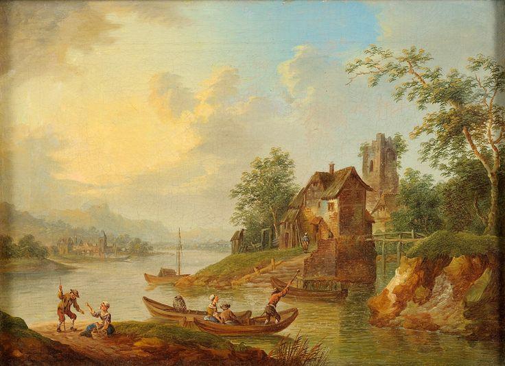 Frankfurter Schule 18. Jhdt. Rheinlandschaft mit Fährboot. Öl/Lwd./doubl., 24 x 34 cm.