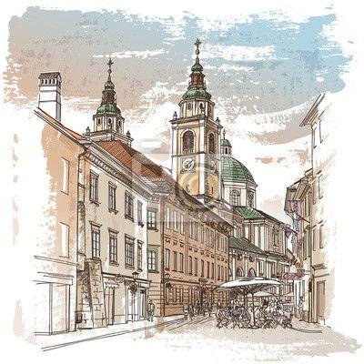 Fotobehang Vector tekening van centrale straat van de oude Europese stad
