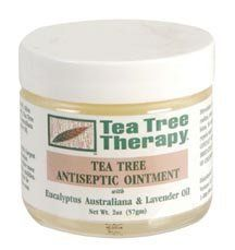Tea Tree Oil Antiseptic Ointment 2 oz. by TEA TREE THERAPY. $57.60. 6-unit VALUE PACK of Tea Tree Ointment - 2 oz - A 100% natural antiseptic ointment that combines a therapeutic dose of pure tea tree oil with the absorption powers of Australian Eucalyptus australiana oil and lavender oil. It is an ideal treatment to protect and treat cuts, abrasions, chafing rashes and other skin irritations.