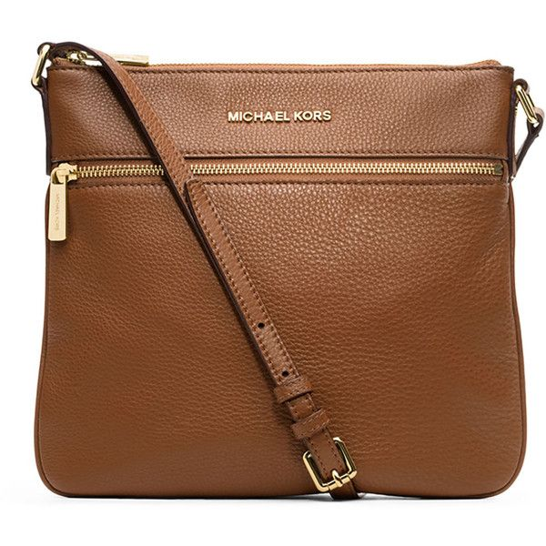 MICHAEL Michael Kors Bedford Flat Leather Zip Crossbody Bag (250 CAD) ❤ liked on Polyvore featuring bags, handbags, shoulder bags, luggage, crossbody, brown purse, cross body handbags and leather shoulder handbags