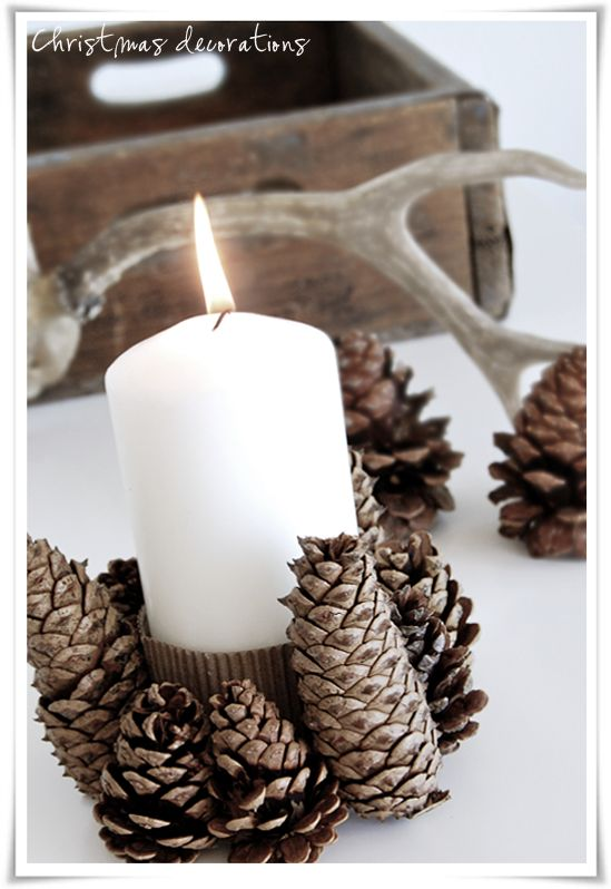 pinecone candle holder for a winter wedding centerpiece