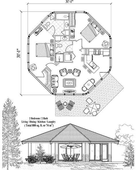 Online House Plan 800 sq ft, 2 Bedrooms, 2 Baths, Patio