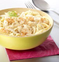 Spaghetti met venkel en scampi's