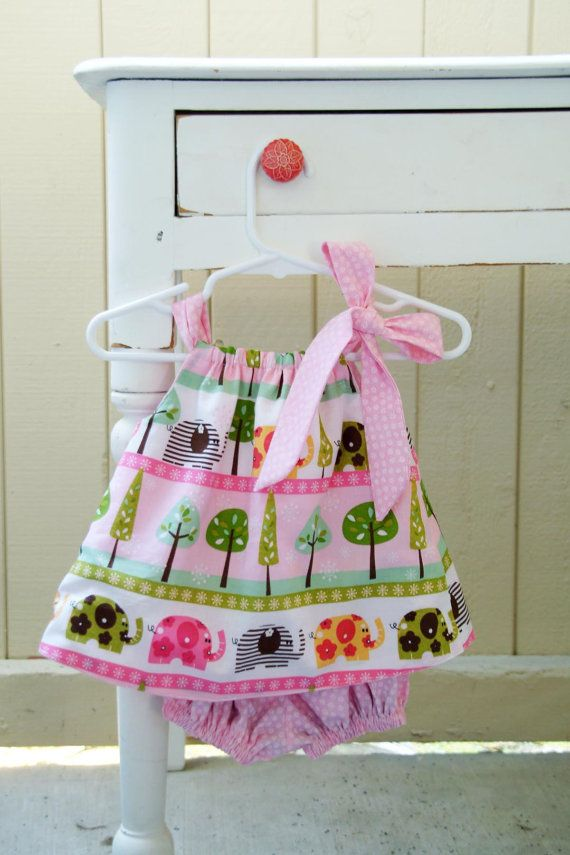 Reversible Pink Elephant Dress with Bloomers by thelilredwagon, $26.95