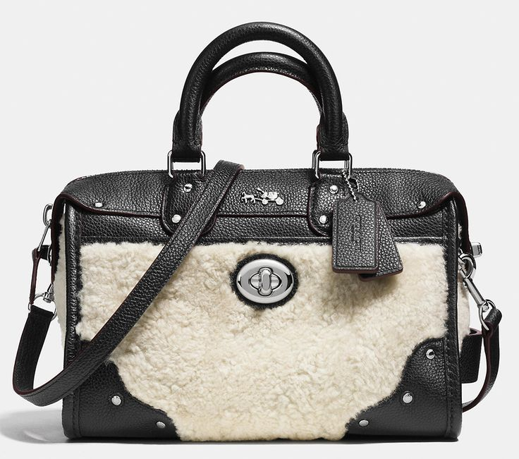 authentic lambskin leather/fur coach bag from fall collection 2015 will be  super cute for fall or winter!