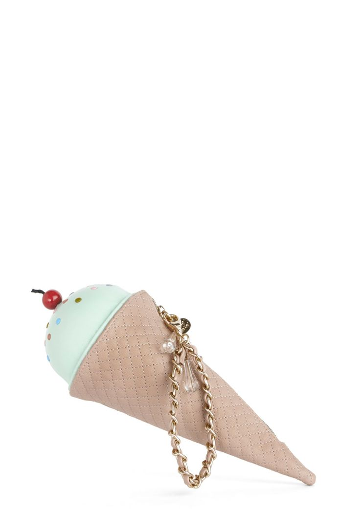 Betsey Johnson The Frozen One Clutch. Just when you thought your outfit couldn't be sweeter, this ice cream cone purse by Betsey Johnson came along! #multi #modcloth