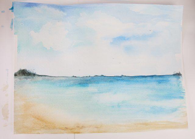 How To Paint A Beach Scene Beach Pinterest Watercolor