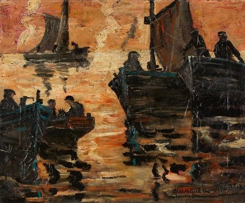 Fishermen at dusk : Benito Quinquela Martín