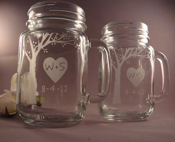 Blooming Tree Mason Jar Mugs by winstonglassworks on Etsy, $26.95
