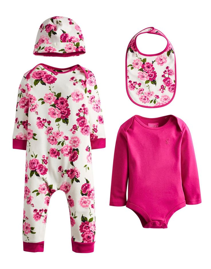 Joules Baby Girls Gift Set, Blossom.                     If you're hunting for a gift for a relative or friend's new arrival, look no further.  This gift set comes beautifully packaged and  includes a soft cotton jersey hat, bib, bodysuit and babygrow.