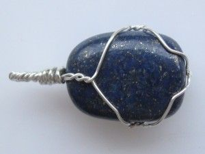 The last 6 hours of the giveaway! Lapis lazuli pendant wire wrapped in sterling silver