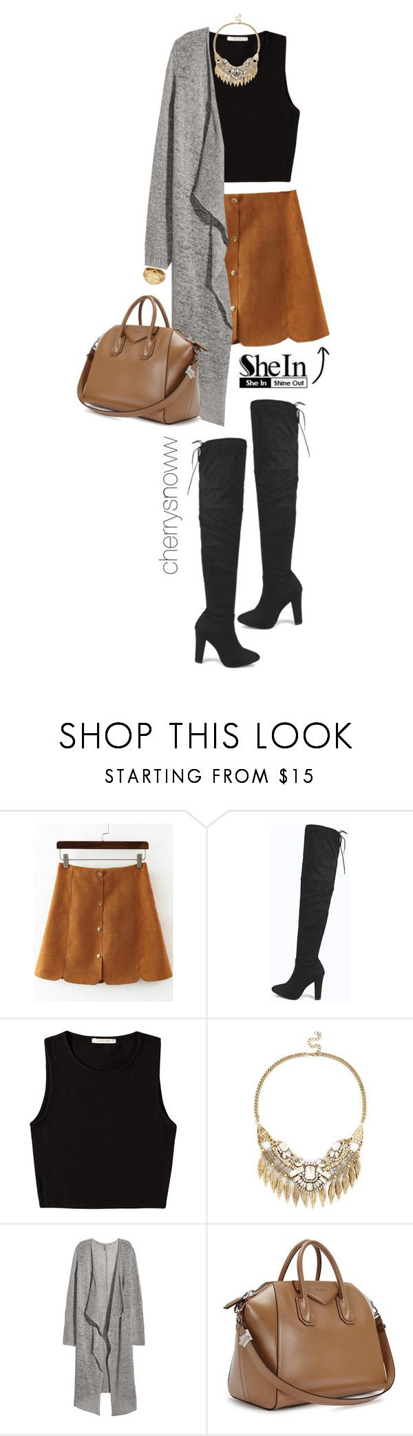"""""""Over the knee boots, suede skirt and long cardigan fall outfit"""" by cherrysnoww ❤ liked on Polyvore featuring Boohoo, Pieces, Sole Society, H&M, Givenchy and Michael Kors"""