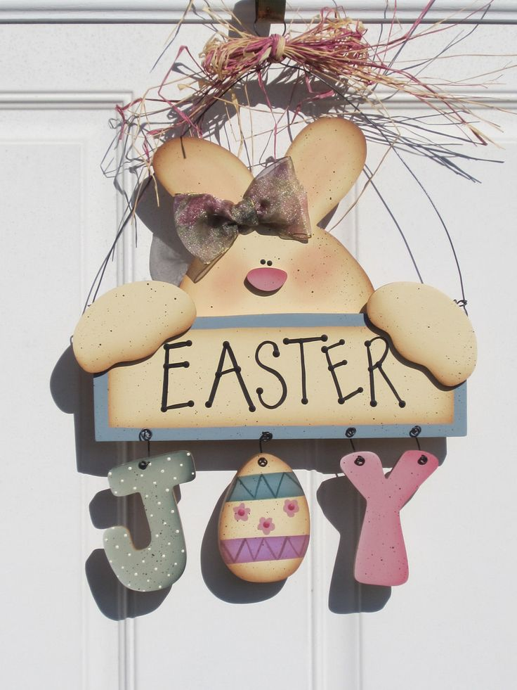Easter Bunny Spring hand painted sign or wall by KCCrafts4U, $25.00