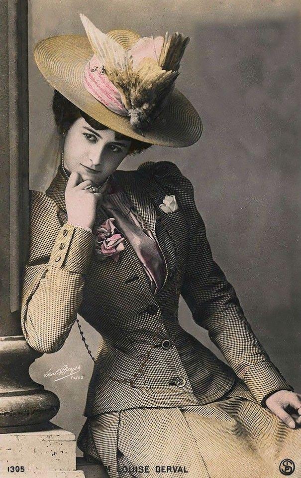 ATRIZ FRANCESA LOUISE DERVAL (FOTO: FLICKR) - cartão postal de 1900 mostram a beleza feminina da época